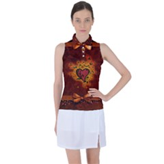 Beautiful Heart With Leaves Women's Sleeveless Polo