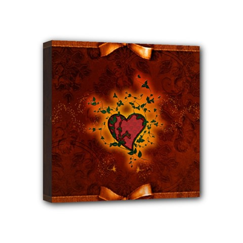 Beautiful Heart With Leaves Mini Canvas 4  x 4  (Stretched)