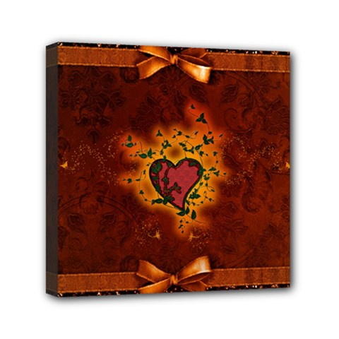 Beautiful Heart With Leaves Mini Canvas 6  x 6  (Stretched)