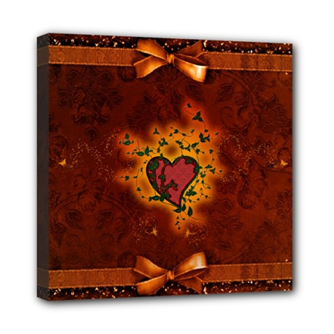 Beautiful Heart With Leaves Mini Canvas 8  x 8  (Stretched)