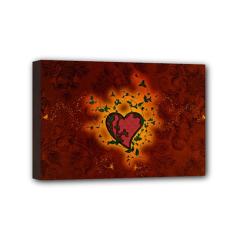 Beautiful Heart With Leaves Mini Canvas 6  x 4  (Stretched)