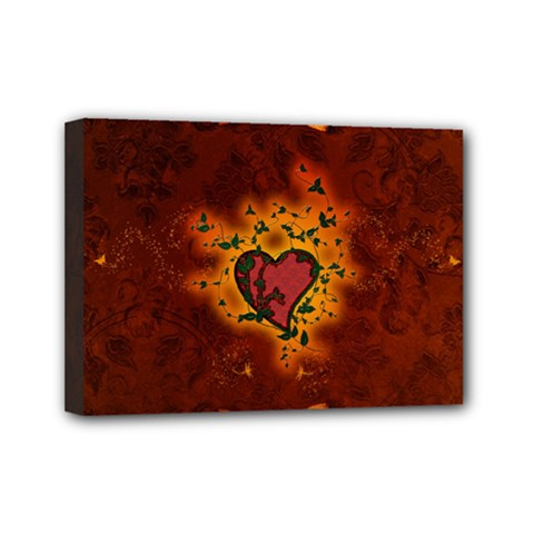 Beautiful Heart With Leaves Mini Canvas 7  x 5  (Stretched)
