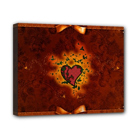 Beautiful Heart With Leaves Canvas 10  x 8  (Stretched)