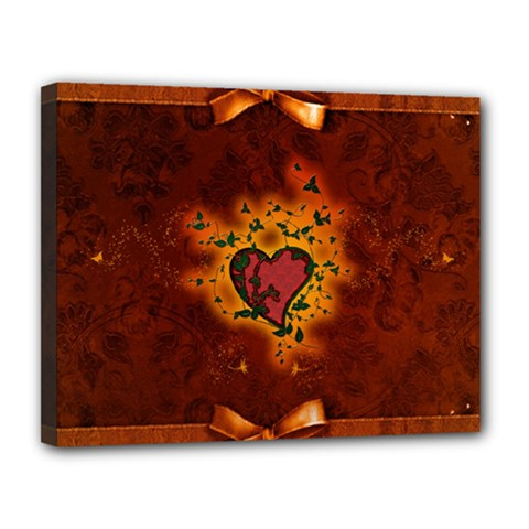 Beautiful Heart With Leaves Canvas 14  x 11  (Stretched)