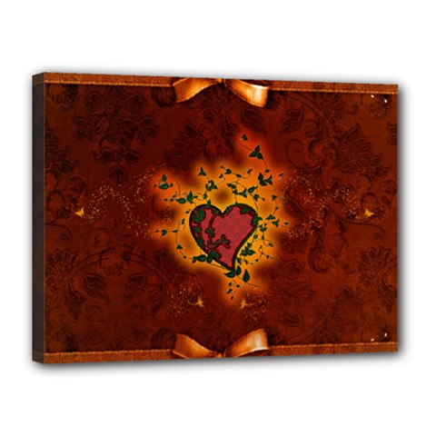 Beautiful Heart With Leaves Canvas 16  x 12  (Stretched)