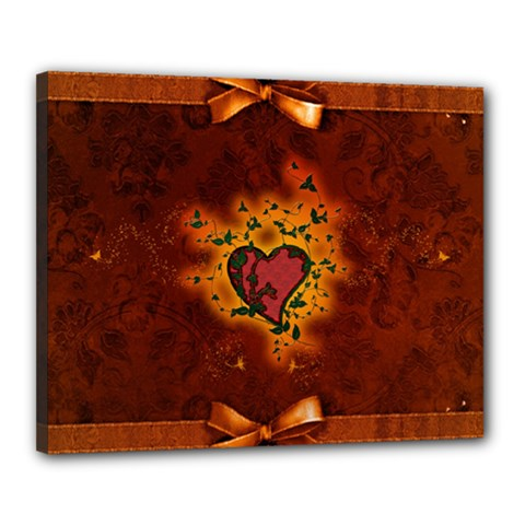 Beautiful Heart With Leaves Canvas 20  x 16  (Stretched)