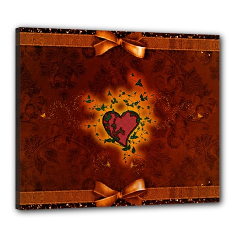 Beautiful Heart With Leaves Canvas 24  x 20  (Stretched)