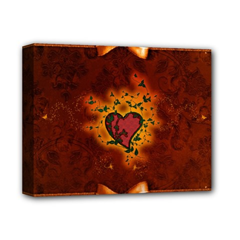 Beautiful Heart With Leaves Deluxe Canvas 14  x 11  (Stretched)