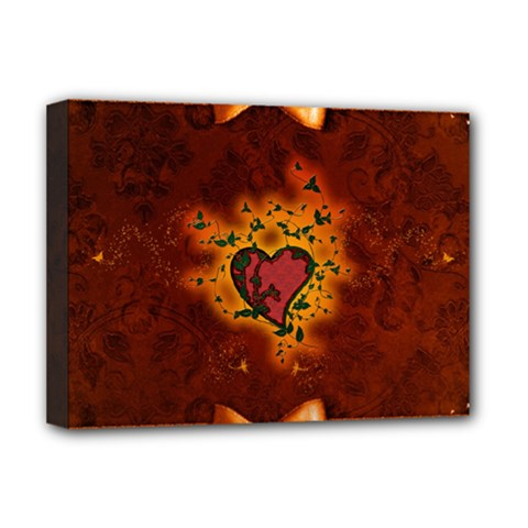 Beautiful Heart With Leaves Deluxe Canvas 16  X 12  (stretched)