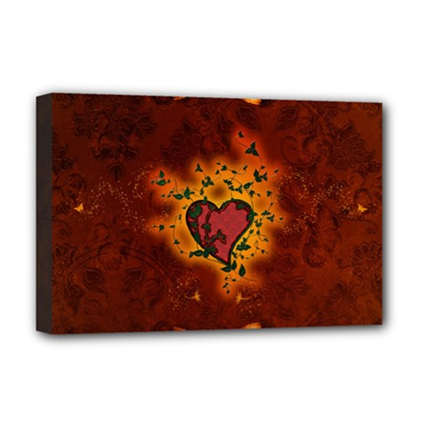 Beautiful Heart With Leaves Deluxe Canvas 18  X 12  (stretched) by FantasyWorld7
