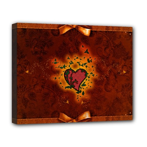 Beautiful Heart With Leaves Deluxe Canvas 20  x 16  (Stretched)
