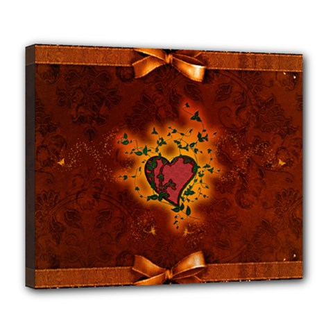 Beautiful Heart With Leaves Deluxe Canvas 24  x 20  (Stretched)