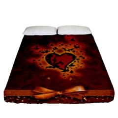 Beautiful Heart With Leaves Fitted Sheet (Queen Size)