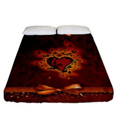 Beautiful Heart With Leaves Fitted Sheet (California King Size)