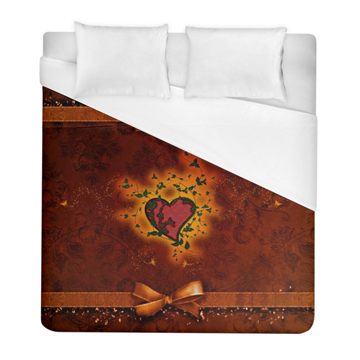 Beautiful Heart With Leaves Duvet Cover (Full/ Double Size)