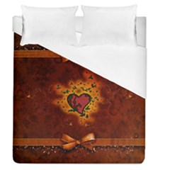 Beautiful Heart With Leaves Duvet Cover (Queen Size)