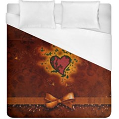 Beautiful Heart With Leaves Duvet Cover (King Size)