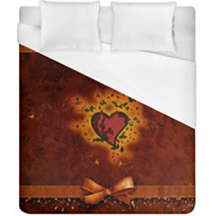 Beautiful Heart With Leaves Duvet Cover (California King Size)