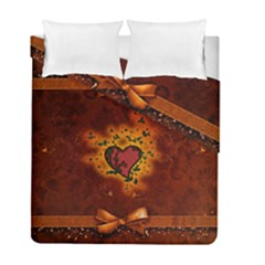 Beautiful Heart With Leaves Duvet Cover Double Side (Full/ Double Size)
