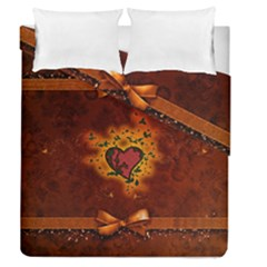 Beautiful Heart With Leaves Duvet Cover Double Side (Queen Size)