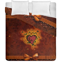 Beautiful Heart With Leaves Duvet Cover Double Side (California King Size)