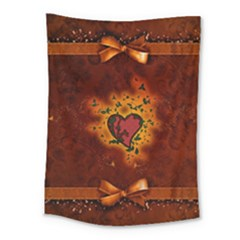 Beautiful Heart With Leaves Medium Tapestry