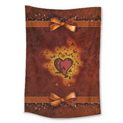Beautiful Heart With Leaves Large Tapestry