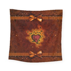 Beautiful Heart With Leaves Square Tapestry (Small)