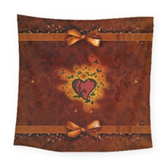 Beautiful Heart With Leaves Square Tapestry (Large)