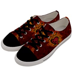 Beautiful Heart With Leaves Men s Low Top Canvas Sneakers