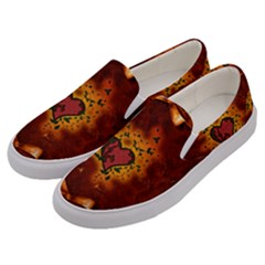 Beautiful Heart With Leaves Men s Canvas Slip Ons