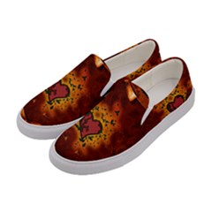 Beautiful Heart With Leaves Women s Canvas Slip Ons