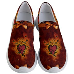 Beautiful Heart With Leaves Women s Lightweight Slip Ons by FantasyWorld7