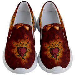Beautiful Heart With Leaves Kids  Lightweight Slip Ons