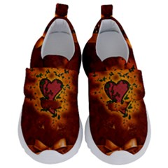 Beautiful Heart With Leaves Kids  Velcro No Lace Shoes by FantasyWorld7