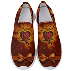 Beautiful Heart With Leaves Men s Slip On Sneakers