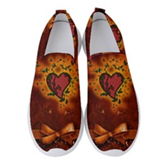 Beautiful Heart With Leaves Women s Slip On Sneakers