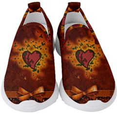 Beautiful Heart With Leaves Kids  Slip On Sneakers