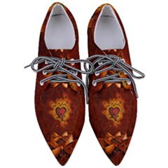 Beautiful Heart With Leaves Women s Pointed Oxford Shoes