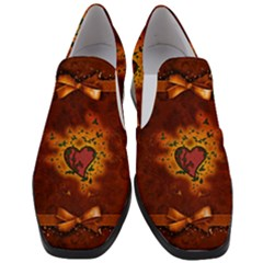 Beautiful Heart With Leaves Women Slip On Heel Loafers
