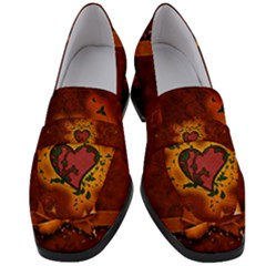 Beautiful Heart With Leaves Women s Chunky Heel Loafers
