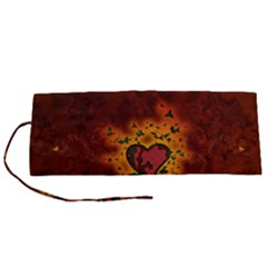 Beautiful Heart With Leaves Roll Up Canvas Pencil Holder (S)