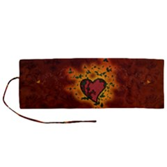 Beautiful Heart With Leaves Roll Up Canvas Pencil Holder (M)