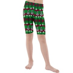 Snow Trees and Stripes Kids  Mid Length Swim Shorts