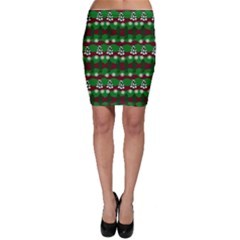 Snow Trees and Stripes Bodycon Skirt