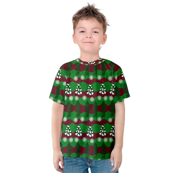 Snow Trees and Stripes Kids  Cotton Tee