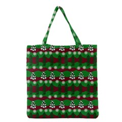 Snow Trees and Stripes Grocery Tote Bag
