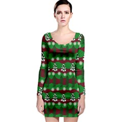 Snow Trees and Stripes Long Sleeve Bodycon Dress