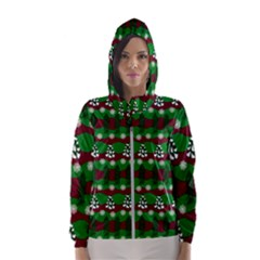 Snow Trees and Stripes Women s Hooded Windbreaker