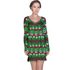 Snow Trees and Stripes Long Sleeve Nightdress